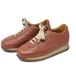 100% Auth Hermes Brown Leather Sneaker Size 35.5